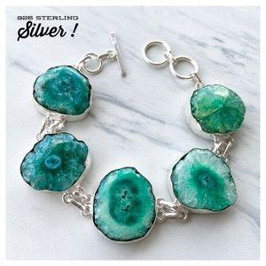 925 Sterling Silver Green solar quartz bracelet